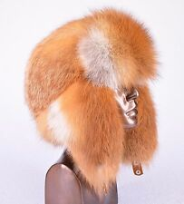 Saga Furs Red Fox Fur Russian Trapper Ushanka Furry Hat S/M/L