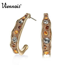 Viennois 2015 New Coffee Gold Swarovski Crystal Stud Earrings Jewelry for Women