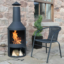 "4FT 4"" EXTRA LARGE CHIMENEA BLACK FIRE PIT BURNER PATIO HEATER OUTDOOR GARDEN"