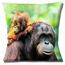 "NEW CUTE YOUNG ORANGUTAN WITH ADULT 'LIFT WITH MUM' 16"" Pillow Cushion Cover"