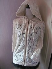 vintage river island size 10 cotton lacey hooded bomber jacket