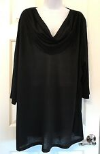 "Just My Size JMS Plus Sz 4X Black Cowl Neck 3/4"" Sleeve Blouse Top Tunic 24W/26W"