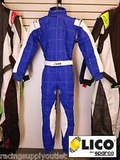 Sparco/Lico  Go Kart Racing Suit FIA  Blue/Silver Size  Medium [In the USA]
