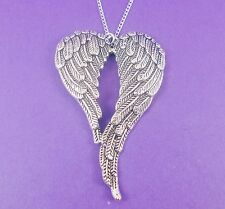 BIG ANGEL WINGS NECKLACE vintage heart heaven guardian large gabriel feather 20""