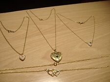 Lot of Four Heart Necklaces 14KT GF, Avon, etc. - 12.1Grams