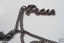 "PLAIN CHARM CHAIN NECKLACE 22"" LONG SAYS PEACE"
