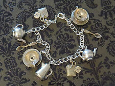 Tea Pot Cup Spoon Charm Bracelet Coffee Kettle 7 Inch Sterling Plate & OMS