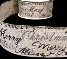 5 Yds Merry Christmas Writing Primitive Burlap Jute Like Wired Ribbon 2 1/2