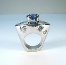 CUSTOM 5.86 CT BLUE ZIRCON 3.26 CTW BLUE & WHITE DIAMOND RING size 6.5 - 14kwg