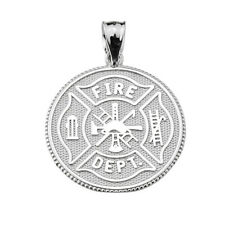 925 Sterling Silver U.S. Firefighter Maltese Cross Coin Pendant
