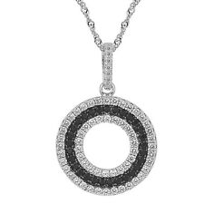"Sterling Silver, Black & Clear CZ Round Pendant with 17.5"" Extension Chain"
