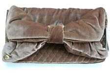JUICY COUTURE Caramel Brown Bow Quilted Velvet Clutch NWT MRSP $198