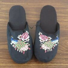 Pair of Embroidered Peacock Chinese Women Slippers Black Size 41 New