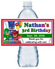 20 ~ PJ MASKS BIRTHDAY PARTY FAVORS WATER BOTTLE LABELS ~ waterproof ink
