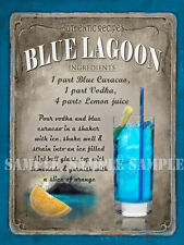 """COCKTAIL BLUE LAGOON  SUPERBLY DESIGNED 8""""X6"""" METAL PLAQUE :"""
