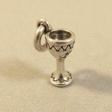 .925 Sterling Silver Tiny WINE GLASS CHARM NEW Chalice Cup Pendant 925 KT83