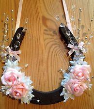 Buona fortuna ferro di cavallo Nuziale Regalo Rosa Rose Spray cristalli avorio