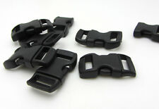 "12pcs 3/8"" Curved Side Release Plastic Buckle  for Paracord Bracelet Black"