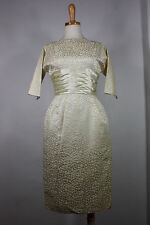 Vintage 50's Polkadot Brocade Dress X-SMALL XS Fitted Rayon Cotton Cream Pencil