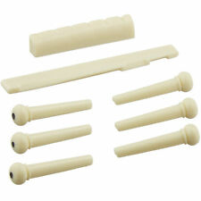 6 Sting Acoustic Guitar Bone Bridge Pins Saddle Nut Real Bone Guitar Parts