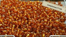 Perles de rocaille  4mm 20g orange  argenté