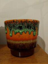 Vintage 60-70's SCHEURICH Green FAT LAVA Orange Planter Pot German Pottery Vase