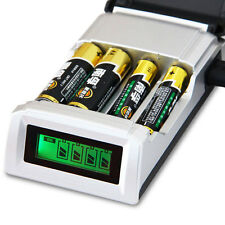 4 Battery Batteries Charger Intelligent Rechargeable AA/AAA N--Mh Ni-Cd UK Plug