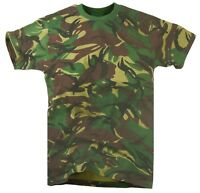 ARMY WOODLAND DPM CAMO T-SHIRT Mens Small Military khaki camouflage cotton tee