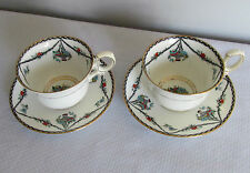TWO Wellington Bone China Demitasse Cups & Saucers  flower baskets.pattern wll4