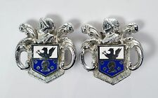 Vintage Coro Heraldic Coat of Arms Shield Knight Silver Tone Clip On Earrings