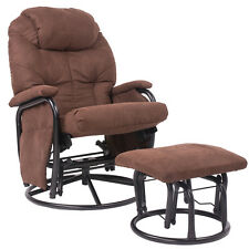 Merax Suede Fabric Swivel Glider Recliner Rocking Chair and Ottoman Set (Brown)