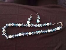 Jewels By ParkLane Blue Glass beads -NWOT- necklace/earrings~Waterfall ~ RV $100