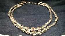 Beautiful Necklace and Earrings Set Vtg Aurora Borealis Crystal Mid Century Exc