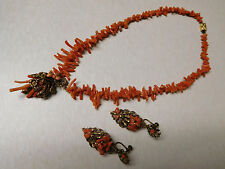 Vtg Unsigned Miriam Haskell? Brass Drop Coral Necklace Screw Back Earrings Lot