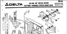 "Delta 20"" Metal-Woodcutting Bandsaw 28-345 Parts List PDF on CD"