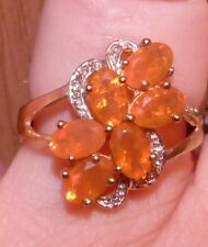 10 KT  3.10 CTW RARE MEXICAN FIRE OPAL & GENUINE DIAMOND   CLUSTER  RING SIZE  7