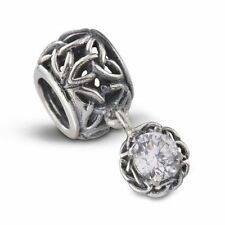 Celtic Knot Silver Bead Charm with Crystal