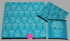 3 Betsey Johnson SKELATOR  Turquoise Black Bath/Hand/Wash Cloth Towels Set NWT
