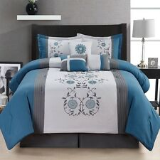 7 Piece Comforter Set King Size Bedroom Bedding Bed in a Bag Bedspread Blue New