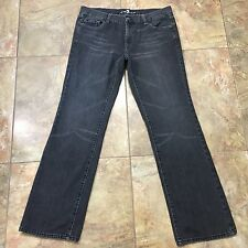 7 FOR ALL MANKIND New York Straight 'A' Pocket Gray Distressed Jeans Size 36x33