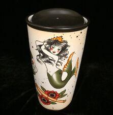 Starbucks 2015 Ceramic Travel Tumbler Mug Lid Mermaid Logo Tattoo Red Rose 12oz