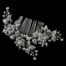Antique Vintage Rhodium Silver Floral Vine Bridal Hair Comb Wedding Accessory