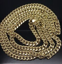 Box lock 30 Inches 10K Yellow Gold Miami Cuban Link Chain 6mm  Rope,Franco,Chino