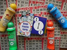 25 BOOKS OF BINGO PAPER (4 ON - 5 UP) , DECK OF BINGO CALLING CARDS, 4 DABBERS