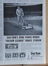 1957 magazine ad for Duo-Trim Power Mowers - Vacuum Cleaning Yankee Stadium