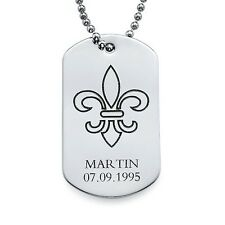 Stainless Steel Engraved Dog Tag with Fleur De Lis, Gift for Him