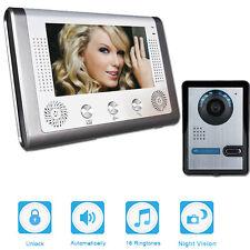 "7"" Wired Video Door Phone Doorbell Intercom Home Security Night Vision+IR Camera"