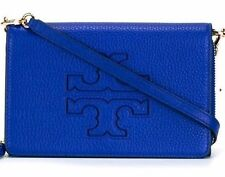 NWT Tory Burch Harper Leather Flat Wallet Cross Body Handbag Clutch Macaw Blue
