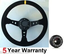 LEATHER DRIFT STEERING WHEEL AND BOSS KIT FIT TOYOTA AND OMP MOMO SPARCO HORNS