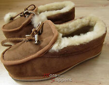 Ladies GENUINE TWINFACE SHEEPSKIN Moccasin Slippers, Chestnut - UK 6 /EUR 39